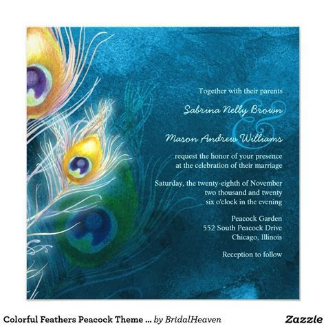 Colorful Feathers Peacock Theme Wedding Card   Peacock
