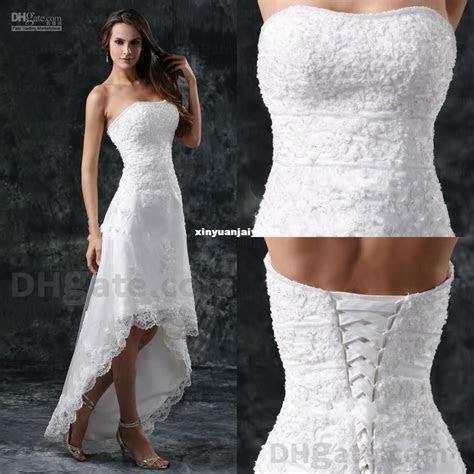 Wholesale   2014 Wedding dresses Lace A line hi low