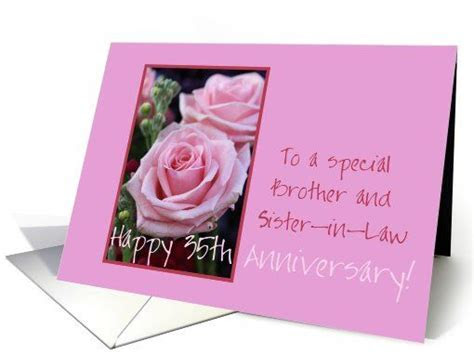 35th Anniversary Brother   Happy Anniversary Cards