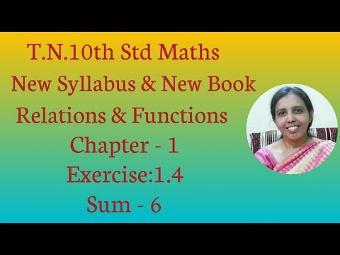10th std Maths New Syllabus (T.N) 2019 - 2020 Relations & Functions Ex:1.4-6