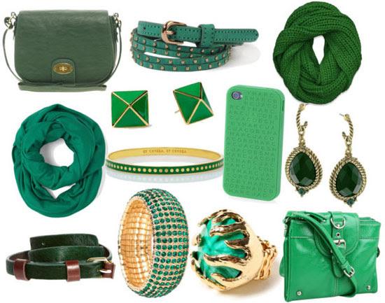 Accesorios de color verde