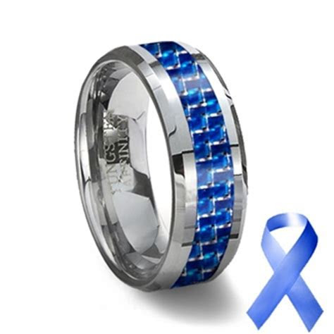 Tungsten Carbide Ring & Blue Carbon Fiber Inlay   Blue