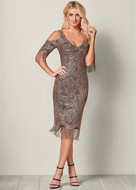FRINGE DETAIL LACE DRESS in Gold & Black   VENUS
