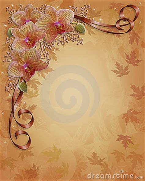 Orchids Floral Wedding Border Fall Colors Royalty Free