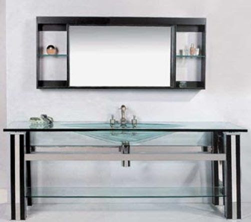 Wasauna WAS-0001 Modern Bathroom Vanity, Tempered Glass Basin, Oak ...