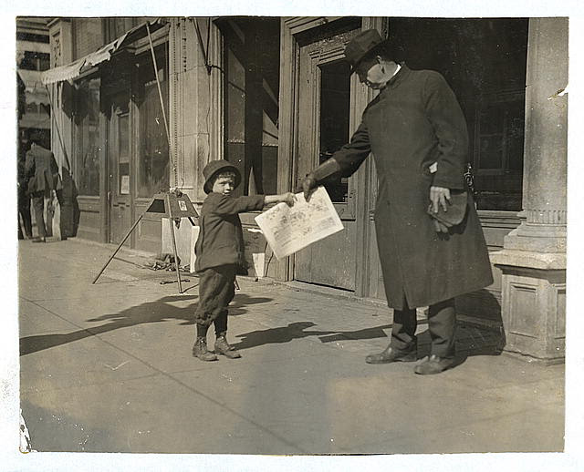 "[John Dowers, 7 years old, lives at 108 W. Frisco St. Starts out at 5 a.m. some days. Father is blind and sells newspapers. John is a pretty good beggar. Was seen trying to borrow a dollar from the bank to ""get father a watch"" (father is blind).]  Location: [Oklahoma City, Oklahoma]"