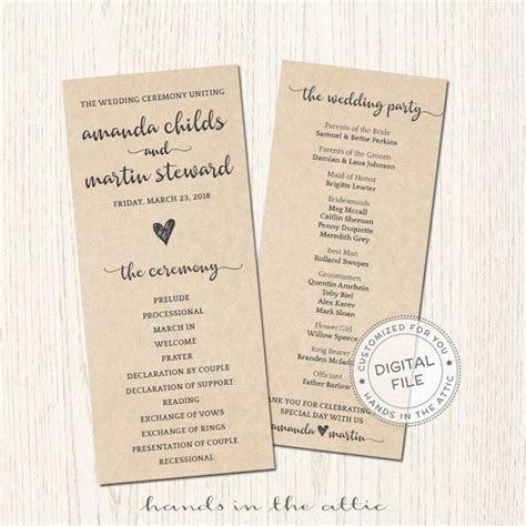 Kraft wedding ceremony program bridal party lineup order