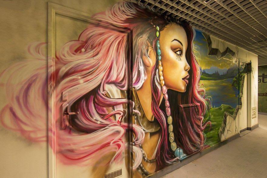 perierga.gr - 100 καλλιτέχνες ζωγράφισαν σχολείο στο Παρίσι με εκπληκτικό αποτέλεσμα!