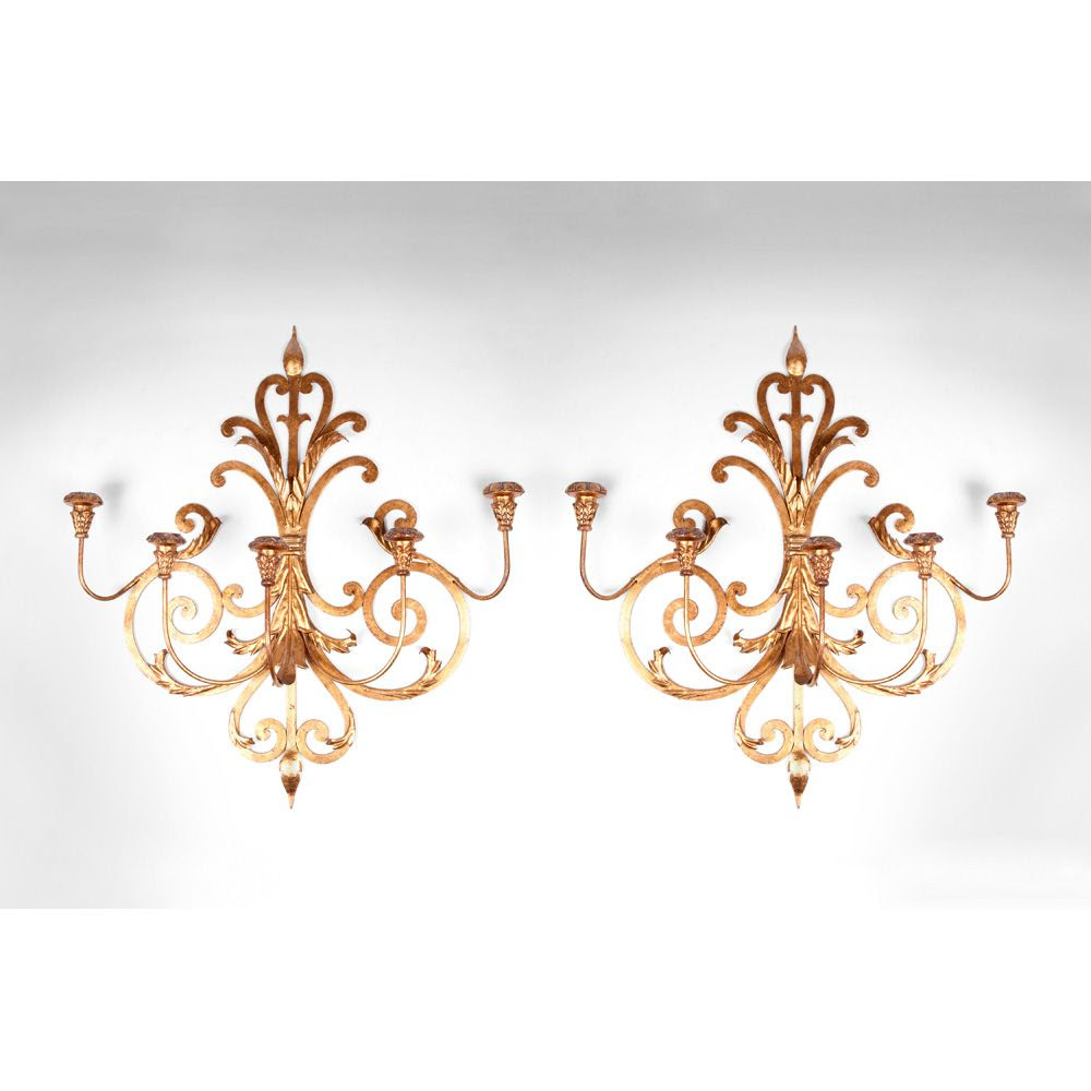 Pair of Mid 20th C. Italian Gilded Wrought Iron Wall Sconces from
