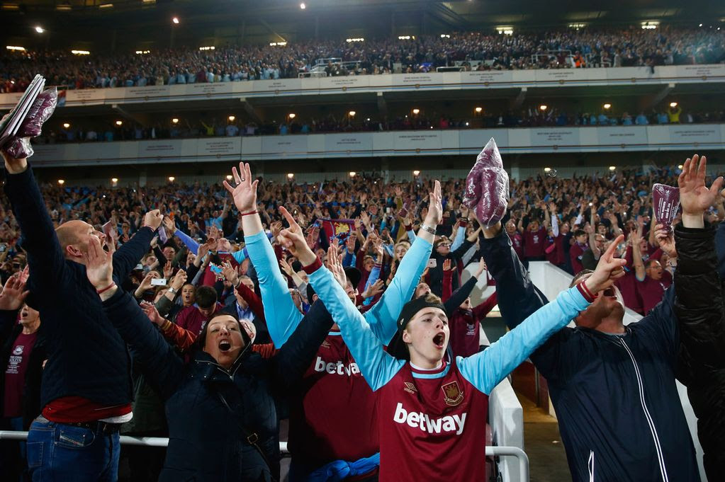 West Ham fans enjoy the atmosphere