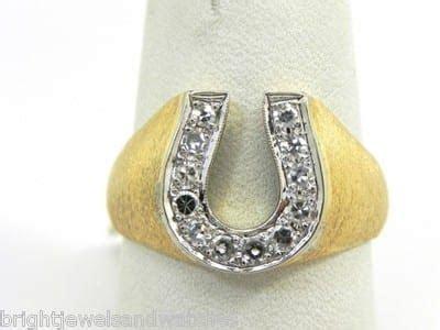 mens  yellow gold diamonds horseshoe ring bright