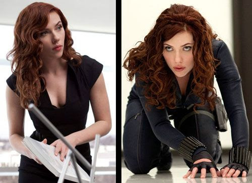 Scarlett Johansson gets all leathery and redheaded as the Black Widow in IRON MAN 2.
