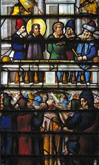 Пилат го суди Исус, витраж од Капелата Вадам во Оксфорд од 1622 г.
