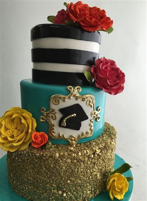 Fancy graduation cake with three tiers with beautiful
