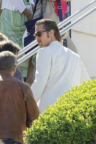 """Brad Pitt A bearded Brad Pitt seen leaving a hotel after a photocall for """"The Tree of Life"""" at the 64th Cannes Film Festival."""
