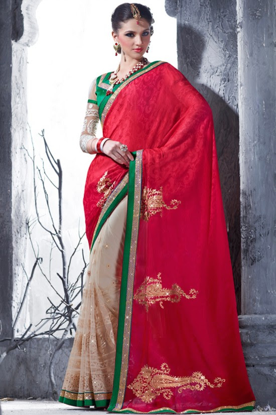 Indian-Brides-Bridal-Wedding-Party-Wear-Embroidered-Saree-Design-New-Fashion-Reception-Sari-19