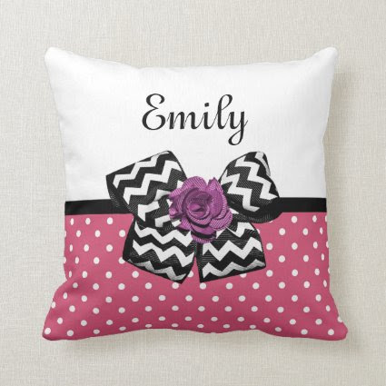 Cute Pink Dots Purple Rose Chevron Bow and Name Throw Pillow
