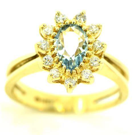 1.10 Ct Aquamarine & Diamond Ring 14k Yellow Gold Natural