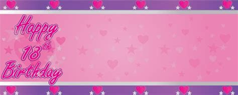 Happy 18th Faded Hearts Personalised Banner   Partyrama.co.uk