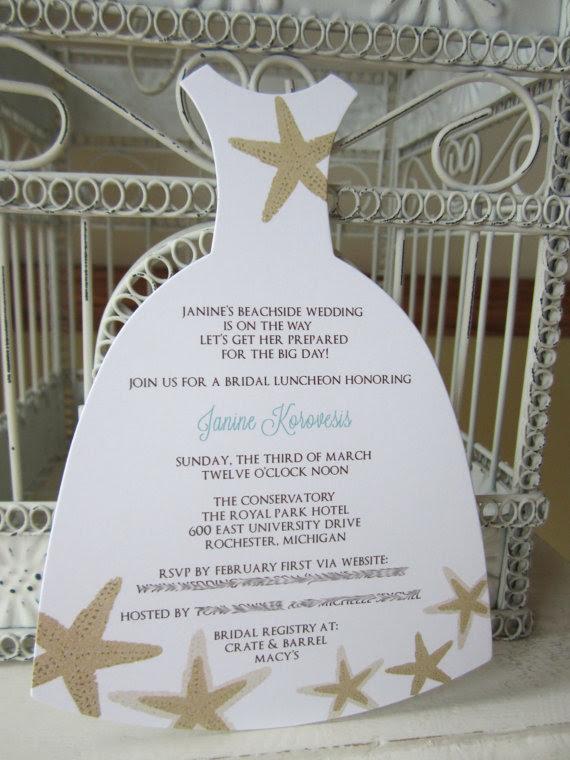 Beach Theme Star Fish Bridal Shower Invitation Custom Dress Die