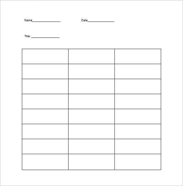 T Chart Template – 9+ Free Word, Excel, PDF Format Download ...