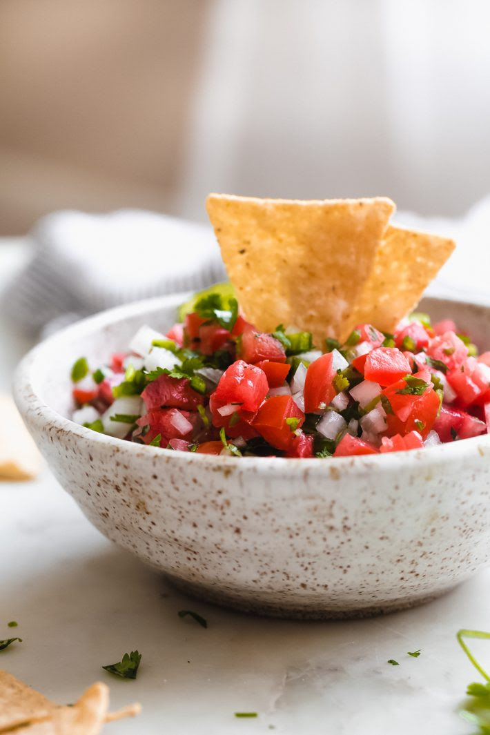 5-Ingredient Pico de Gallo - learn how to make the best homemade pico de gallo. One simple technique makes this pico so much better! #picodegallo #cincodemayo #salsa #chipanddip #appetizers | Littlespicejar.com