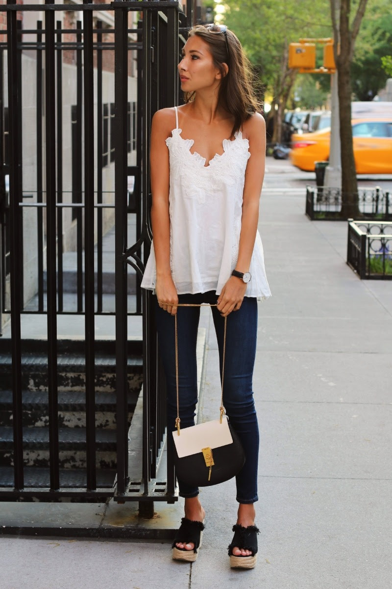 """fashion-clue: """" justthedesign: """" Just The Design: Felicia Akerstrom is wearing a H&M top with Topshop jeans and wedges from NLY """" www.fashionclue.net 