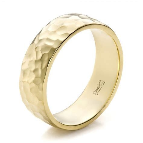 Custom Men's Hammered Yellow Gold Wedding Band #100269