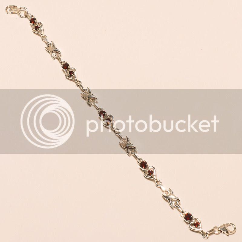 925 sterling solid silver little heart design garnet gemstone br
