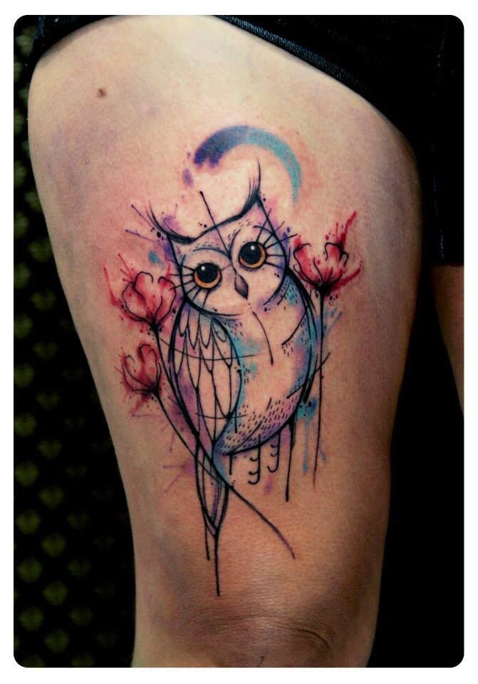 Beautiful Watercolour Owl Tattoo By Tyago Compiani Tattoomagz