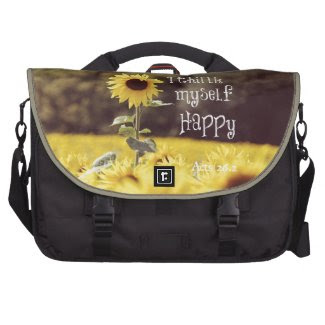 Happy Bible Verse with Sunflowers Laptop Computer Bag