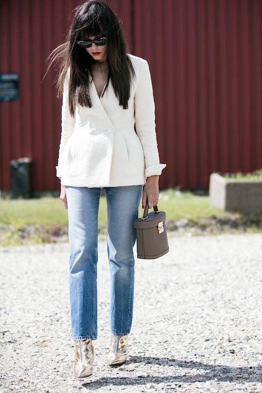 Le Fashion Blog Street Style Sunglasses Peplum White Blazer Top Handle Structured Bag Metallic Gold Ankle Boots Via Sandra Semburg