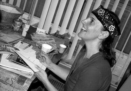 Kari Tauring signs her book