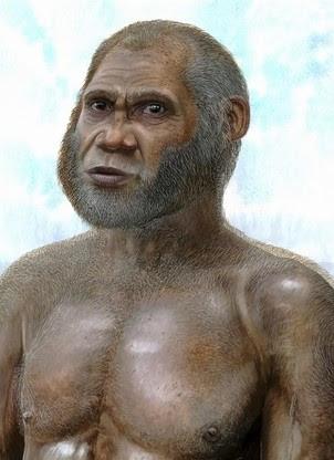 Reconstrução artística do homem da Idade da Pedra que teria convivido com o homem moderno na China (Foto: PLoS One/EFE)