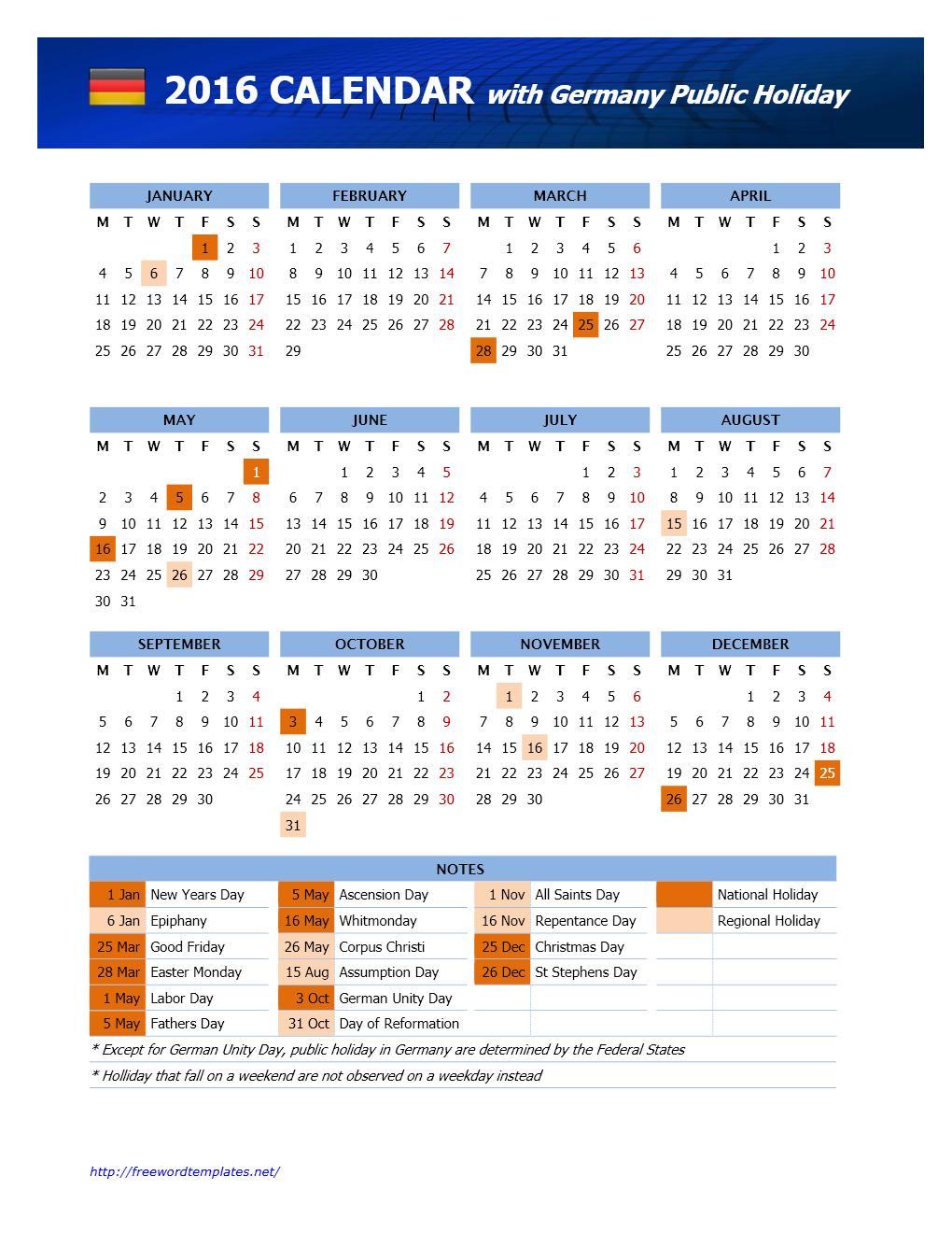 2016 Germany Public Holidays Calendar