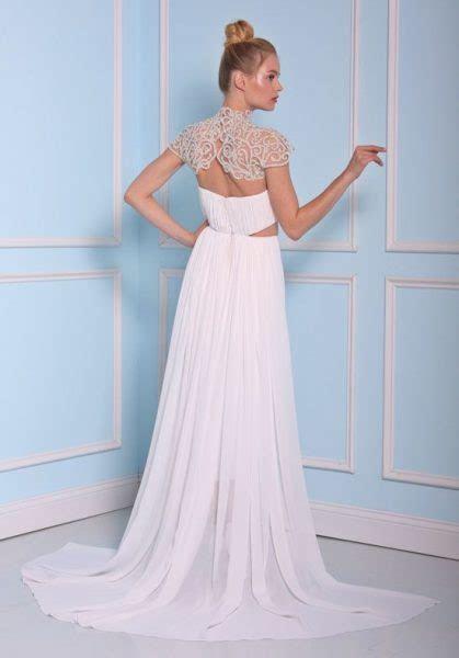Beaded High Neckline Tea Length Silk Wedding Dress