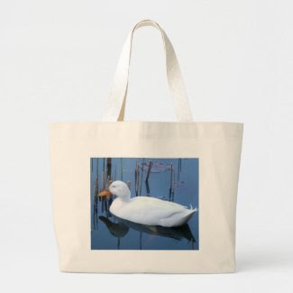 Sleeping White Duck Reflection Jumbo Tote Bag