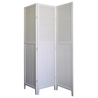 Ore Rubberwood Shutter Door 3-Panel Room Divider - White ...