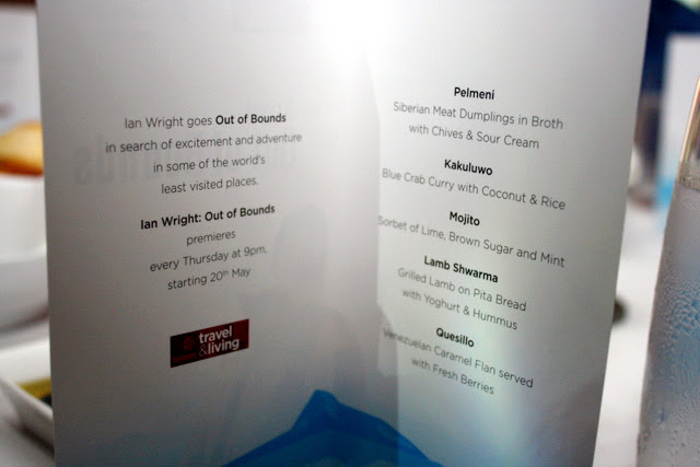 The menu is inspired by the challenging locales Ian visits in Out of Bounds
