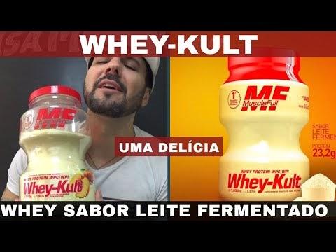 Whey-Kult MUSCLEFULL O Whey Protein com Sabor de Leite Fermentado Muito Bom e Gostoso