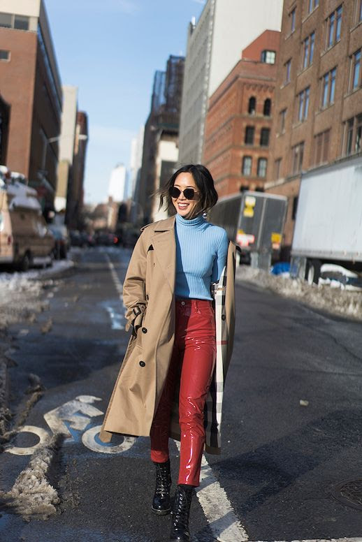 Le Fashion Blog Aimee Song Fashion Week Blue Sweater Beige Trench Coat Red Patent Leather Pants Black Heeled Combat Boots Via Song Of Style