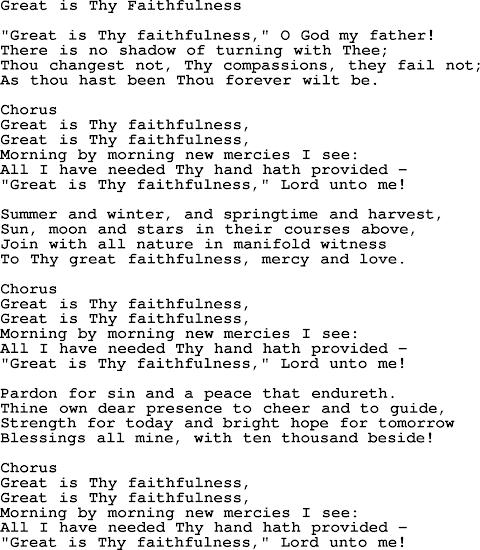 Great Is Your Faithfulness Lyrics