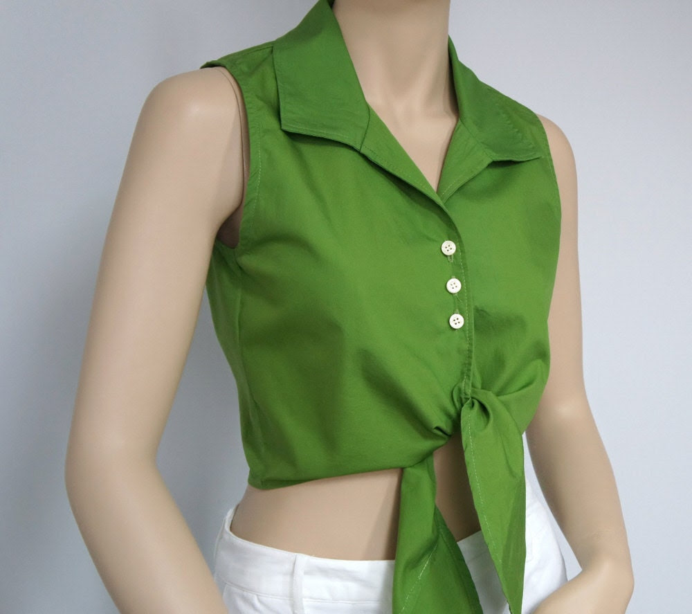 Womens Blouse / Top / Crop Top / Midriff / Size Medium / Cotton / Green / Tie Front / Jonathan Martin / Sleeveless / Summer - AgelessThings