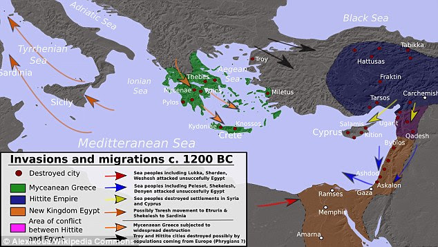 The map above shows many of the suspected invasions made by the Sea Peoples around 1200 BC