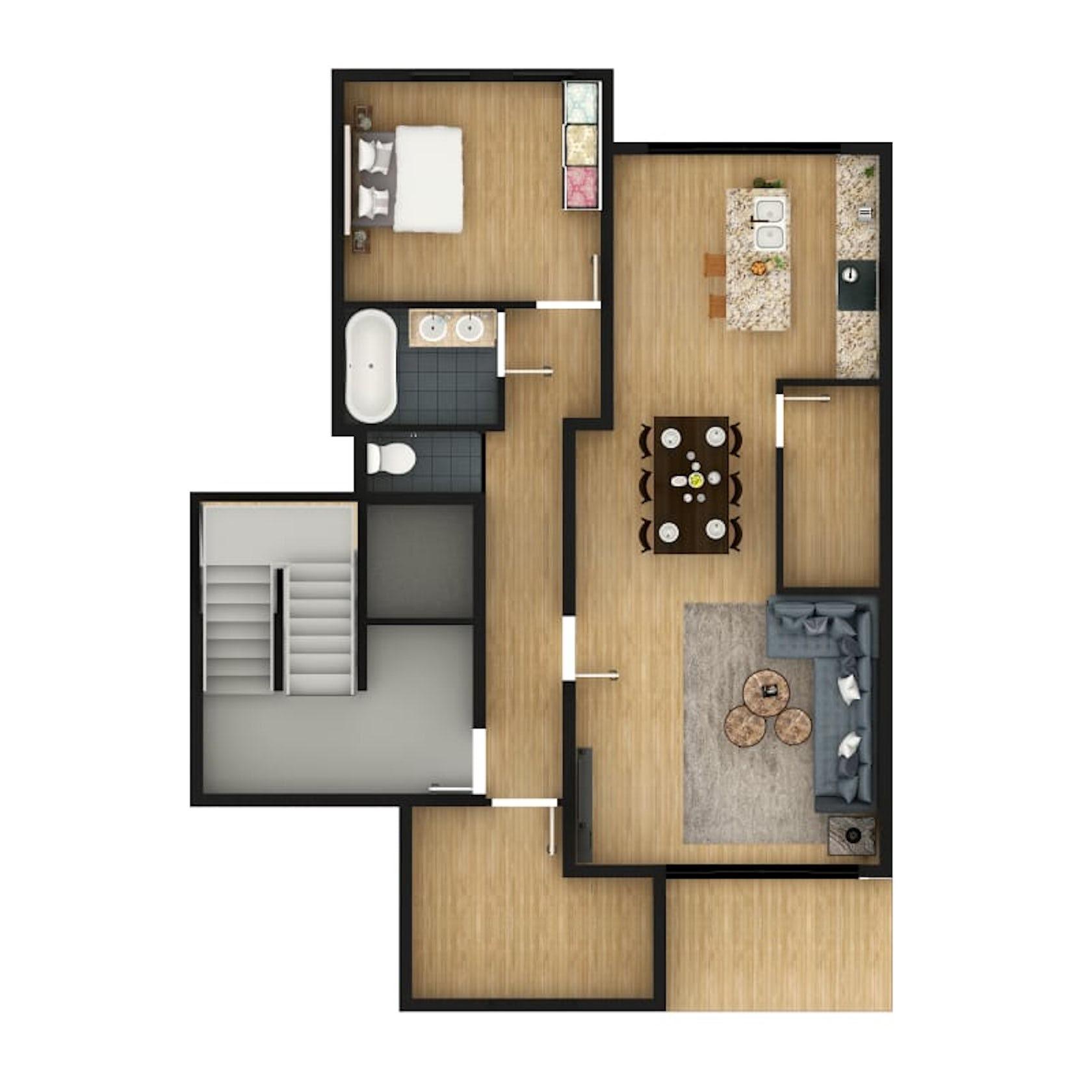 2D Floor Plan Design Rendering using Photoshop with Custom ...