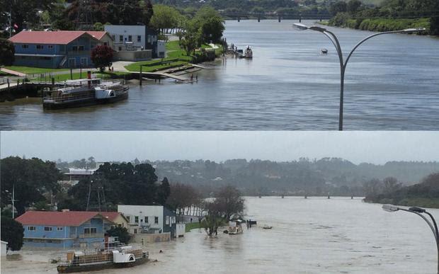 The Whanganui River ordinarily, and this morning.