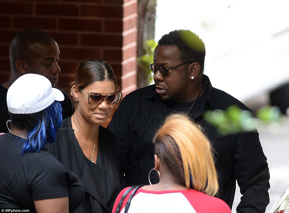 Medical dash: Bobby Brown's wife Alicia Etheredge (pictured at Bobbi Kristina's wake on Friday) was 'rushed to hospital after suffering a seizure' according to TMZ on Saturday night