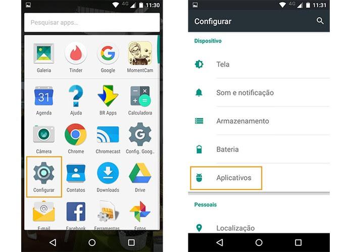 Acesse o menu de configurações e toque em aplicativos (Foto: Reprodução/Barbara Mannara)