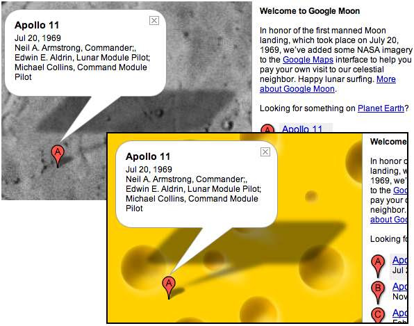 Google Moon with cheese