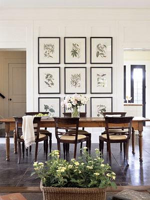 dining rooms - black green white brown farmhouse dining table upholstered wood dining chairs botanical photo gallery slate floors dining room